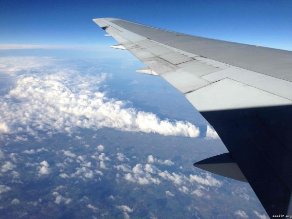 Airplane images in flying