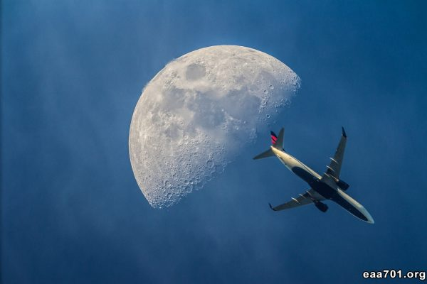 Airplane moon photo