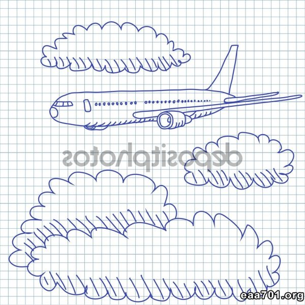 Airplane photo graphics in the clouds
