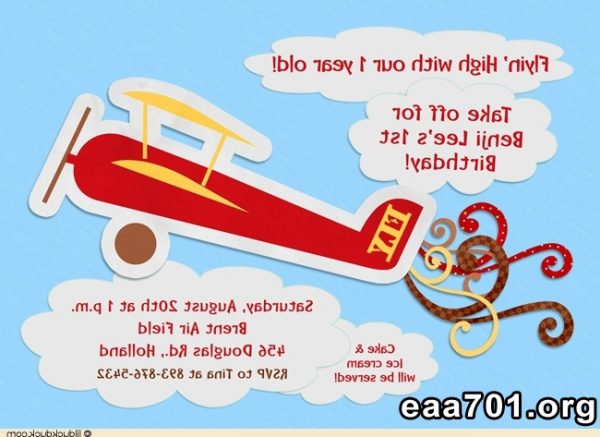 Airplane photo invitation birthday